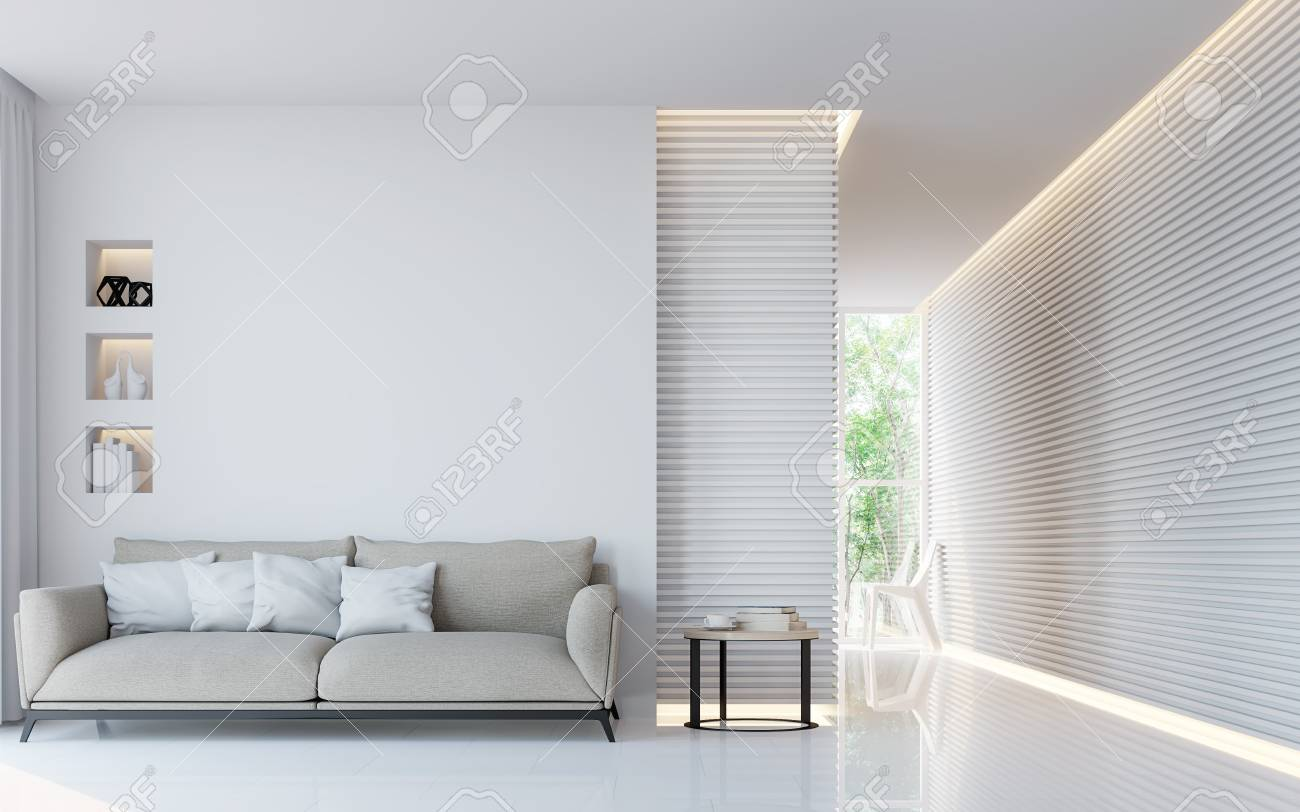 Modern white living room interior 3d rendering image.A blank wall with pure white. Decorate wall with extrude horizon line pattern and hidden warm light - 74781462