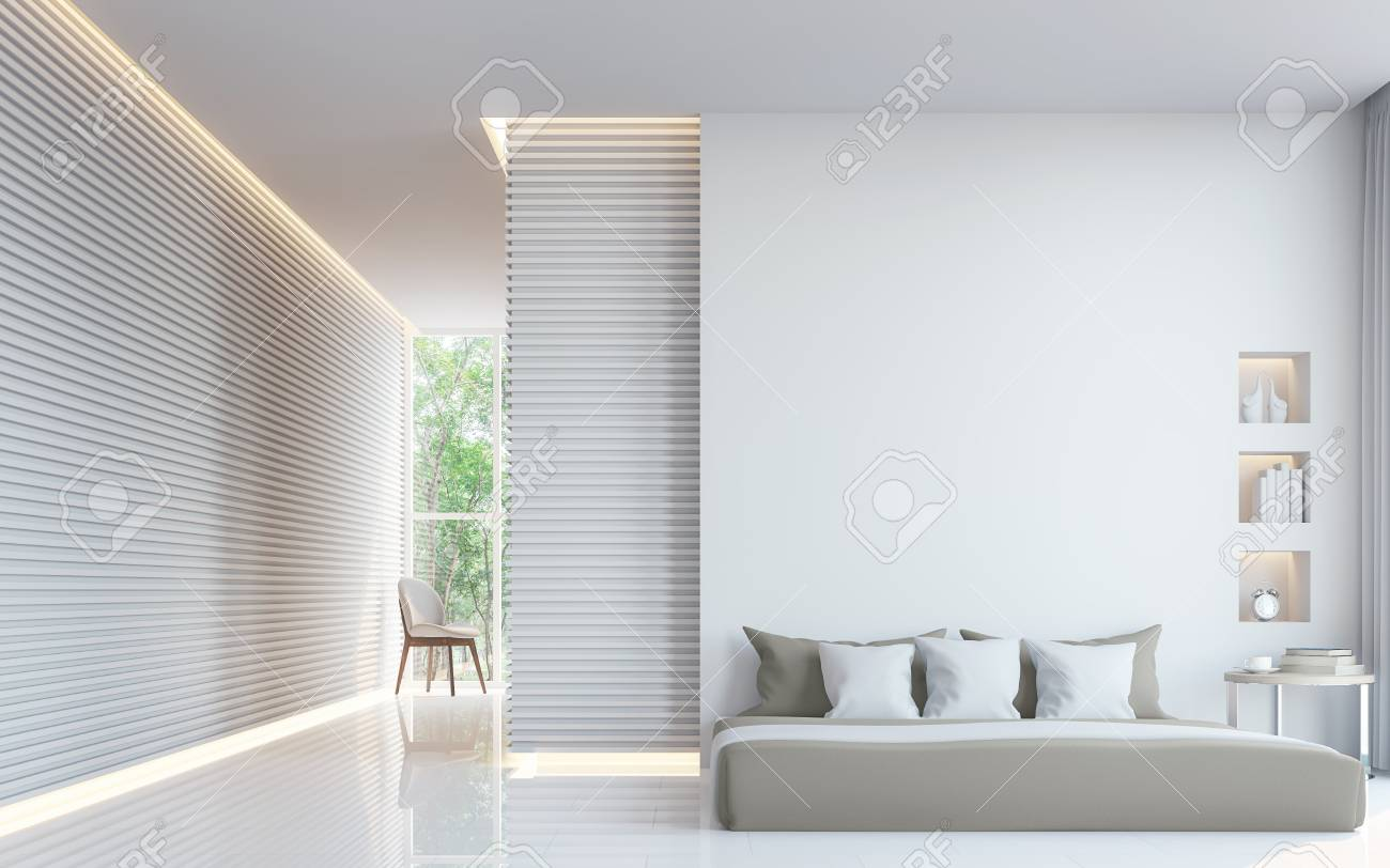 Modern white bedroom interior 3d rendering image.A blank wall with pure white. Decorate wall with extrude horizon line pattern and hidden warm light - 75044817