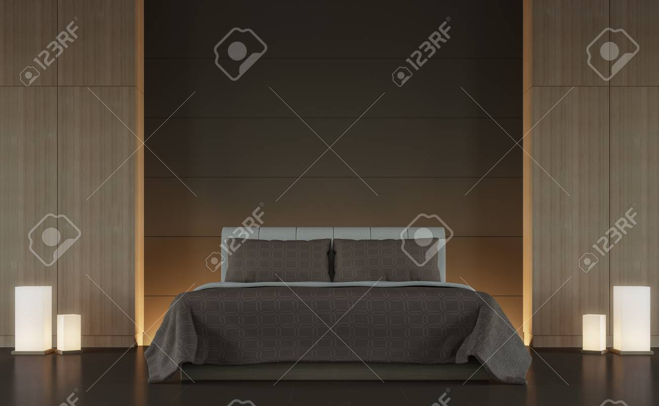 Modern Brown Bedroom Interior Minimal Style 3d Rendering Image,There ...