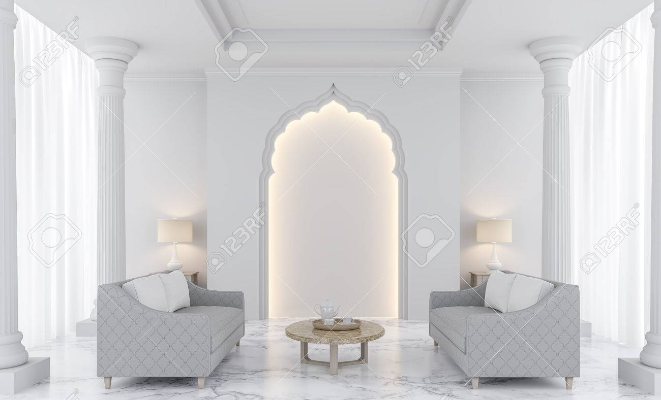 Luxury White Living Room 3D Rendering Image.There Are Decorated ...