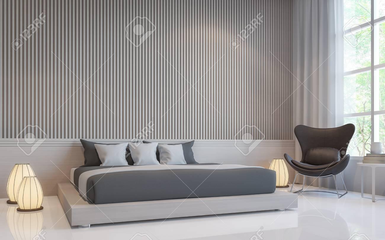 Intérieur de la chambre blanche moderne 3d rendu image.Il y a un mur blanc  blanc avec latte en motif vertical et sol blanc. Décorer la chambre avec un  ...