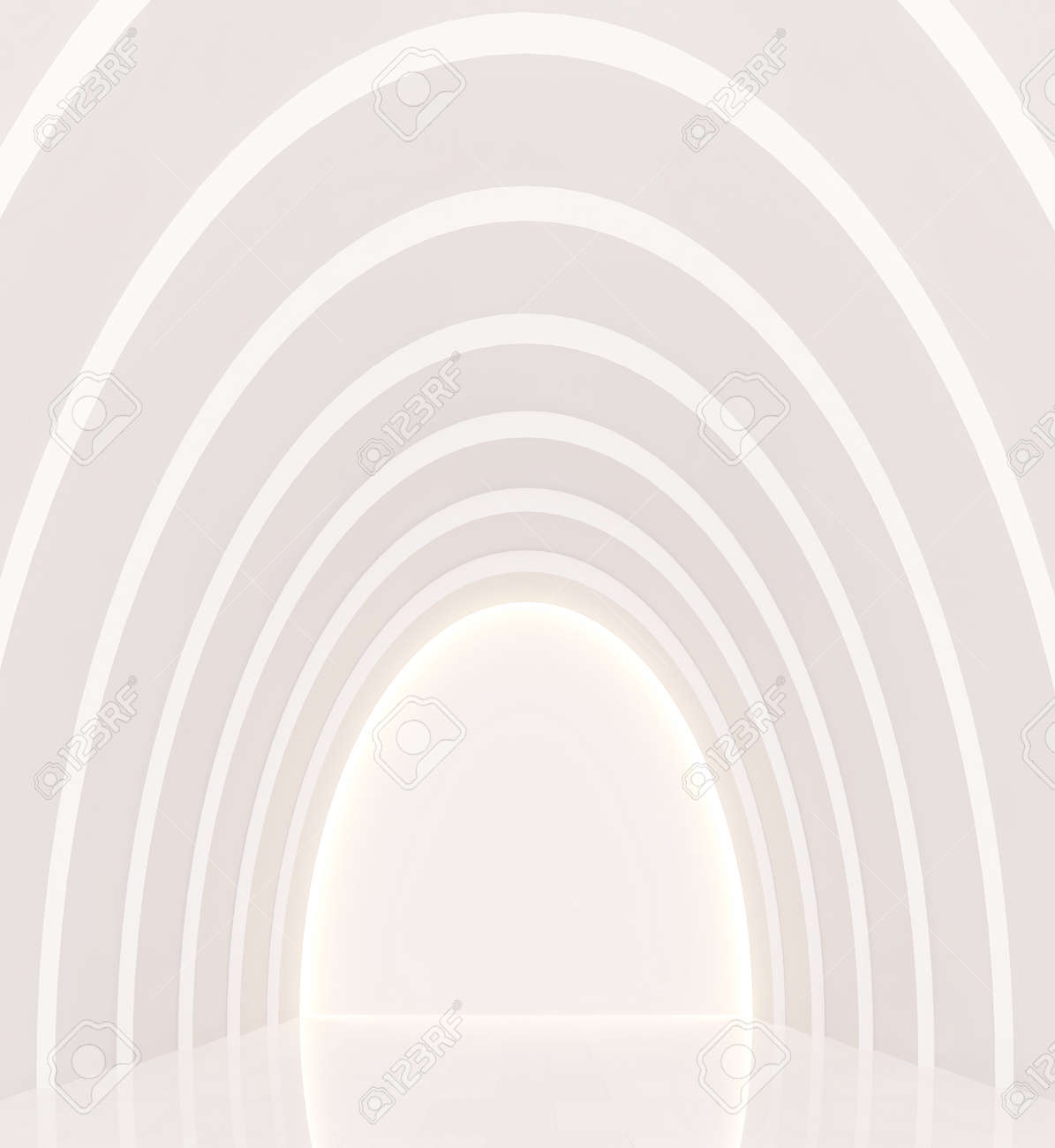 Leere Weiße Raum Moderne Raum Innenraum 3D-Rendering Image.a Kurve ...