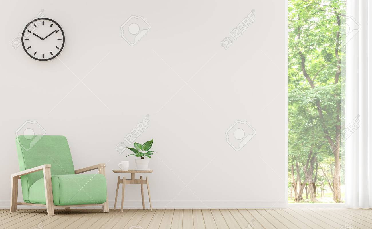 Modern white living room with pastel furniture 3d rendering image.There are window overlooking the surrounding nature and forest - 75535223