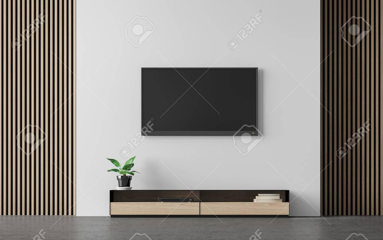 Banque Du0027images   Image Moderne De Rendu 3d De Salon Moderne. Il Y A  Décorer Le Mur Avec Le Modèle En Bois Vertical Et Le Mur Blanc Avec La  Peinture