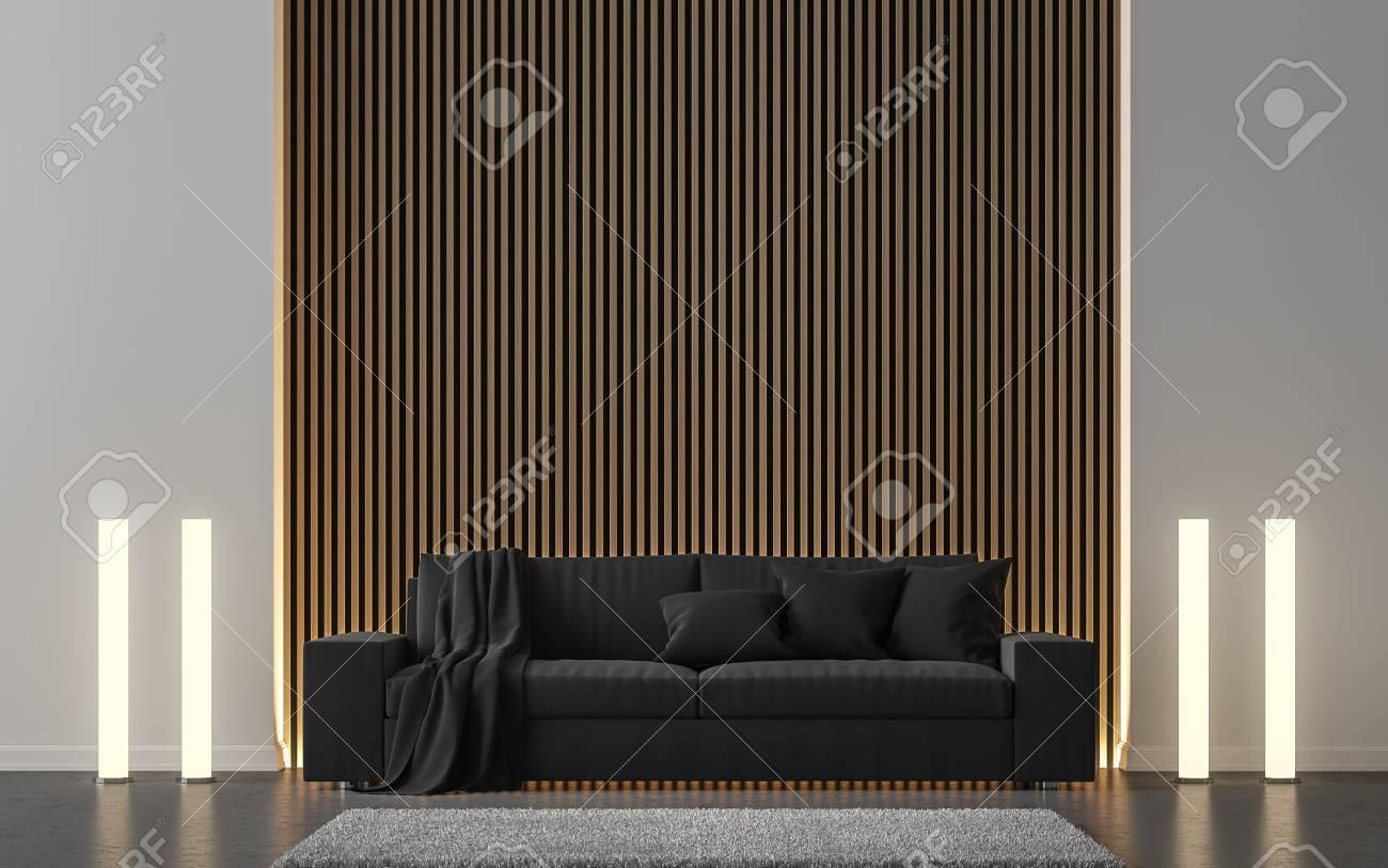 Modernes Wohnzimmer Verzieren Wand Mit Hölzernem Wiedergabebild Des Gitters  3d. Es Gibt Schwarzes Sofa,