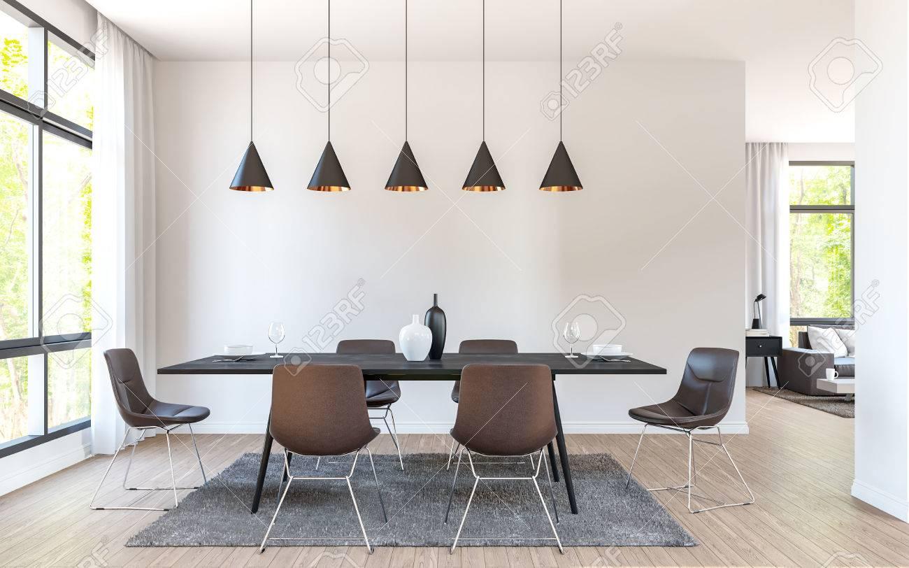 El Comedor Moderno Adorna Con Imagen Marrón De La Representación 3d ...