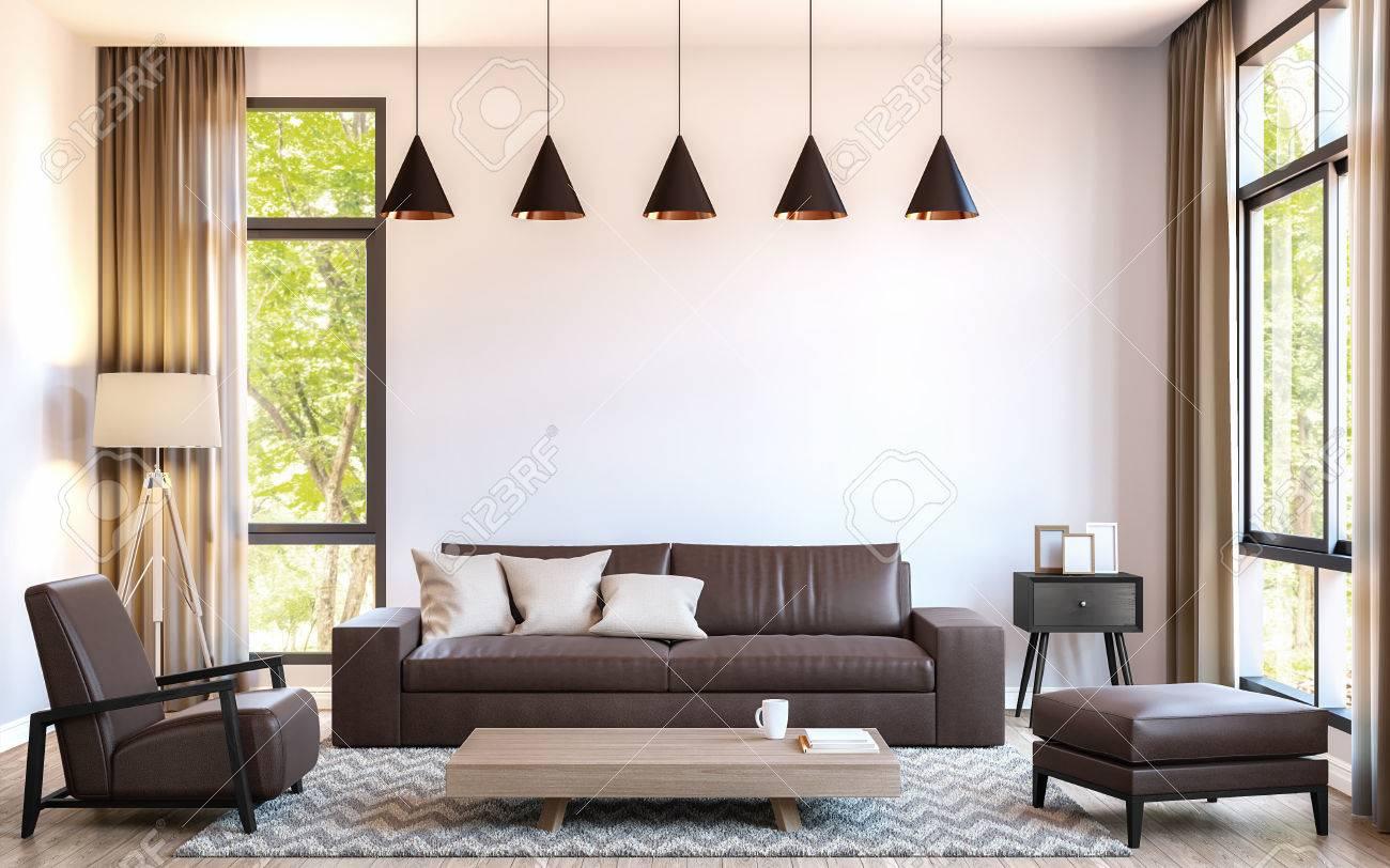 Salon moderne décorer avec des meubles en cuir marron image de rendu 3d. Il  y a une grande fenêtre donnant sur la nature et la forêt