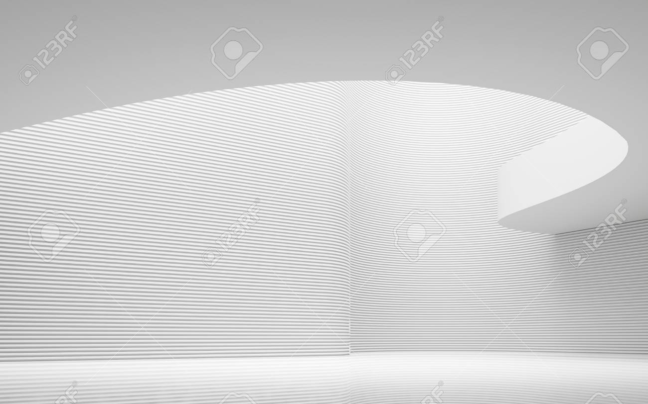 Empty white room modern space interior 3d rendering image.A blank wall with pure white. Decorate wall with horizon line pattern - 77150962