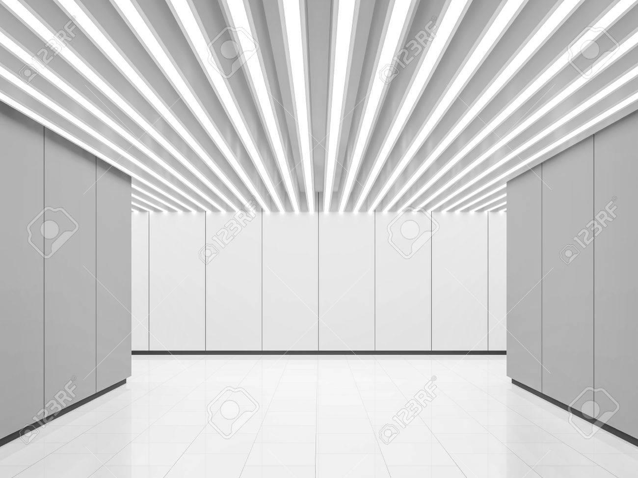 Leere Weiße Raum Moderne Raum Interieur 3D Rendering Bild. Eine ...