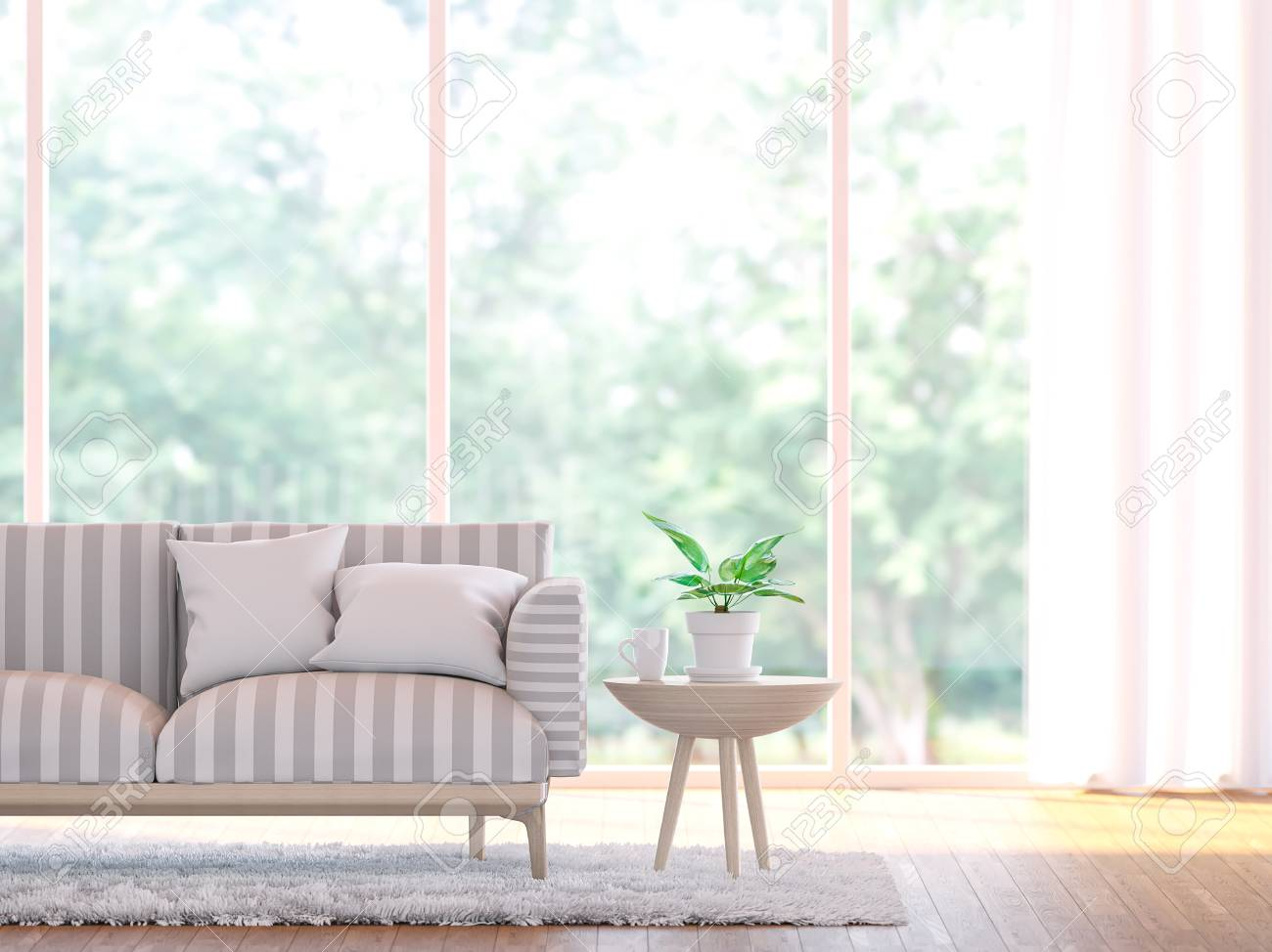 Modern living room close up 3d rendering image.There wooden floor and large window overlooking to nature and forest - 77168370