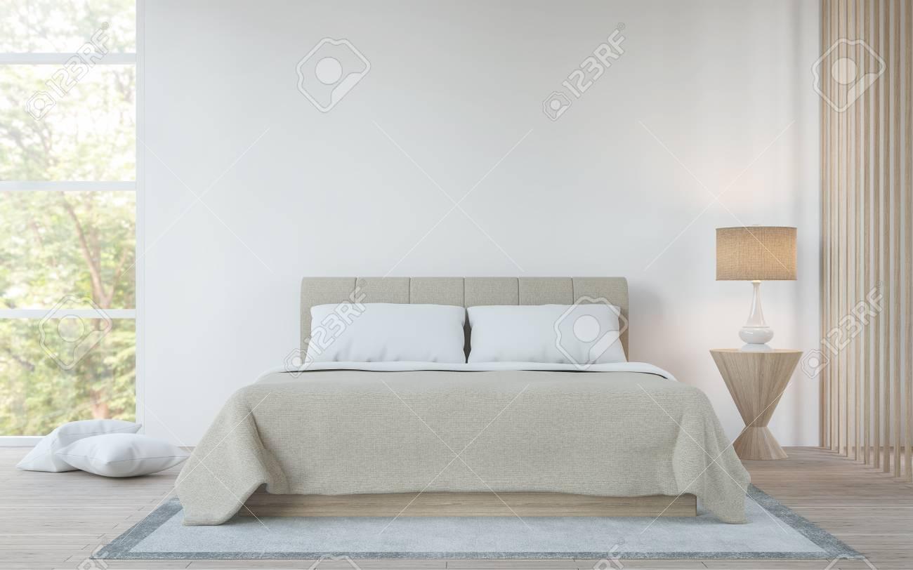 Camera da letto bianca moderna nell\'immagine di rendering 3d foresta. C\'è  un letto king size, pavimenti in legno e grandi finestre di vetro. Può ...