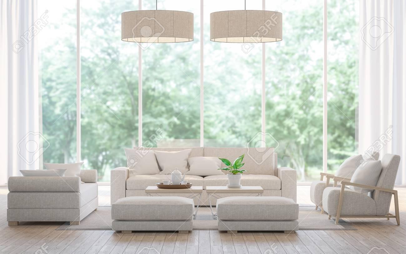 Moderno soggiorno bianco nella foresta immagine di rendering 3d. C\'è un  grande set di divani, pavimenti in legno e grandi finestre di vetro. Può ...