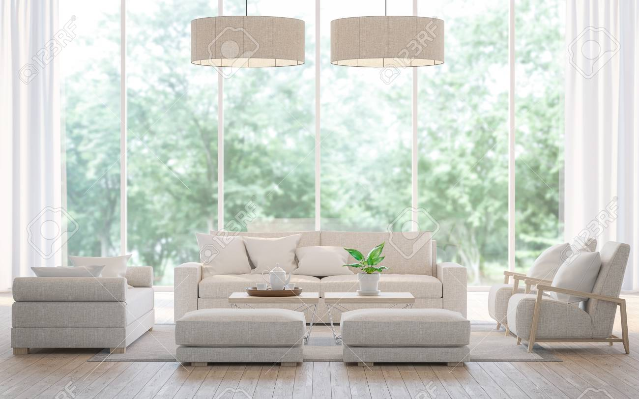 Modern white living room in the forest 3d rendering image.There is a large sofa set, wooden floors and large glass windows. Can look out to see the beautiful nature. - 78132469