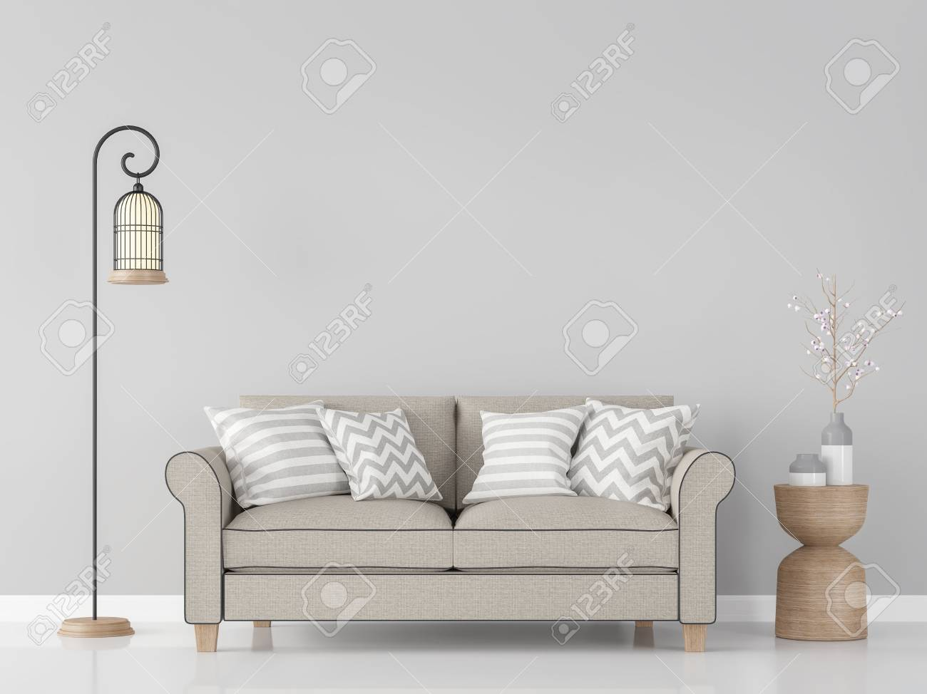 Modern Vintage Living Room Interior 3d Rendering ImageThere Are Minimalist Style Image Gray