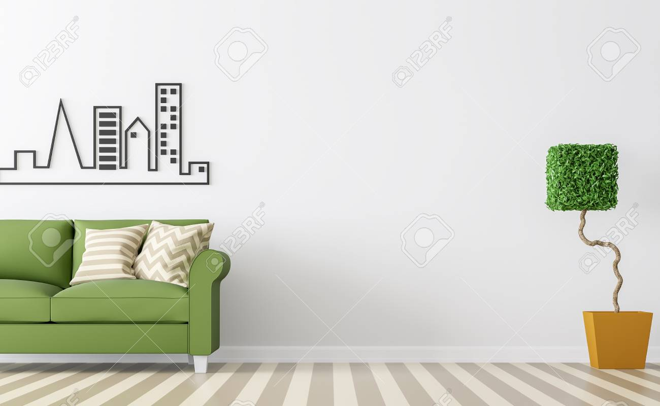 Modern White Living Room Interior With Green Sofa 3d Rendering ...