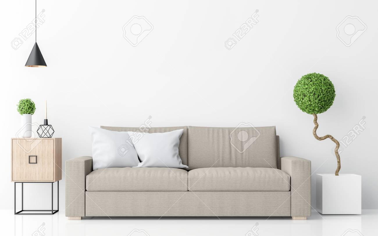 Enjoyable Modern White Living Room Interior Minimalist Style Image 3D Rendering Caraccident5 Cool Chair Designs And Ideas Caraccident5Info