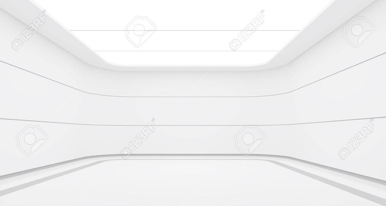 Empty white room modern space interior 3d rendering image.A blank wall with pure white. Decorate with horizon line pattern - 80032855