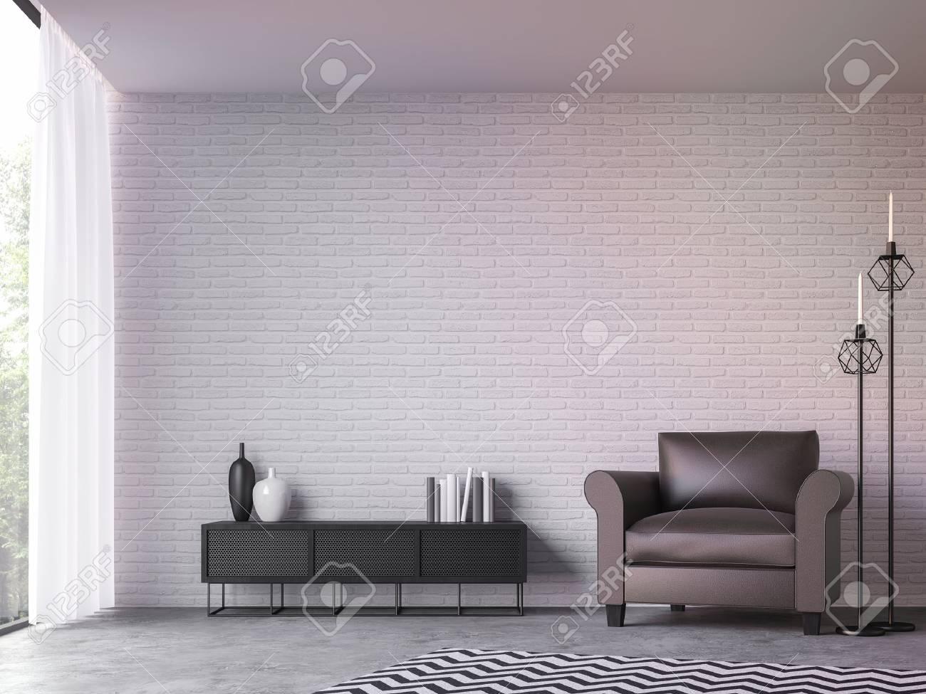 Salon moderne loft avec vue sur la nature image de rendu 3d Meublé avec des  meubles en cuir brun foncé a des murs de briques blanches et de grandes ...