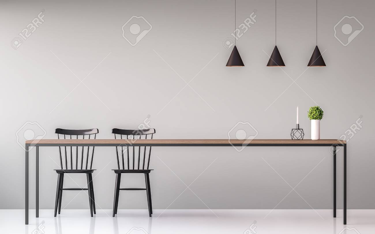El Estilo Mínimo 3d De La Imagen Del Comedor Moderno Rinde. Hay ...