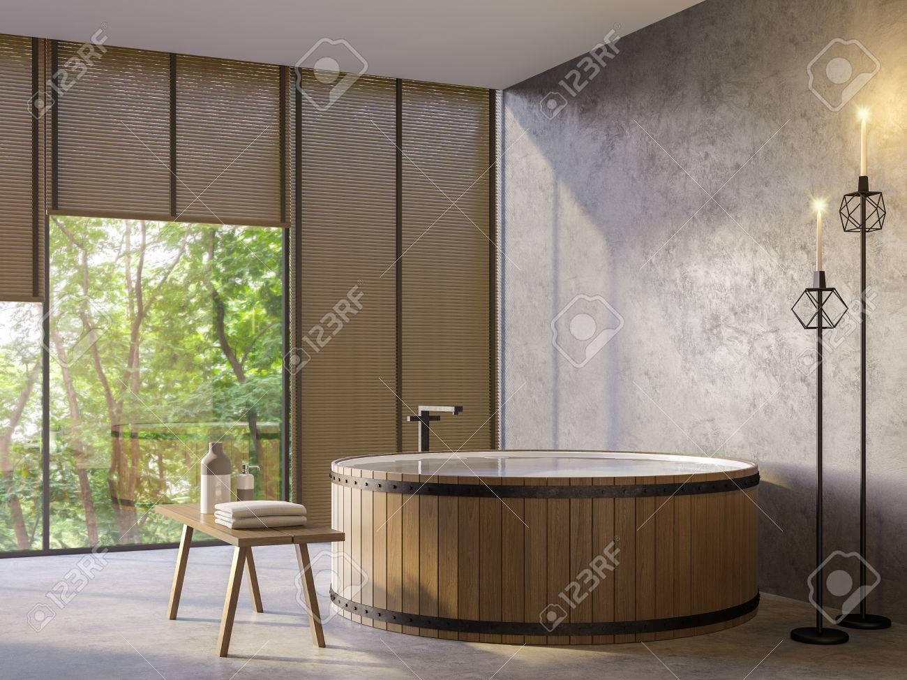 Salle de bain de style loft avec vue sur la nature image de rendu 3d  Meublée avec une baignoire en bois, des murs en béton et de grandes  fenêtres ...