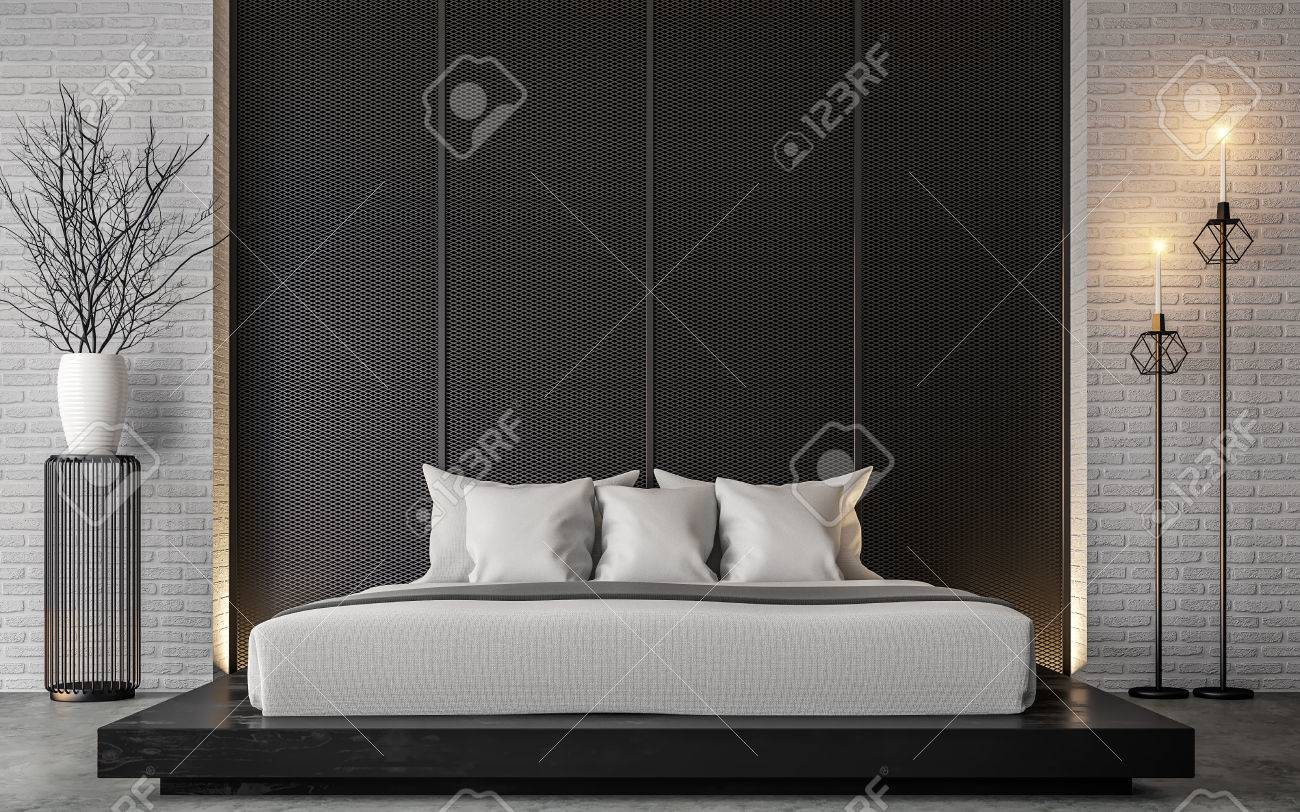 Modern loft bedroom 3d rendering image Furnished with Black wood furniture has concrete floor and white brick walls - 80615349