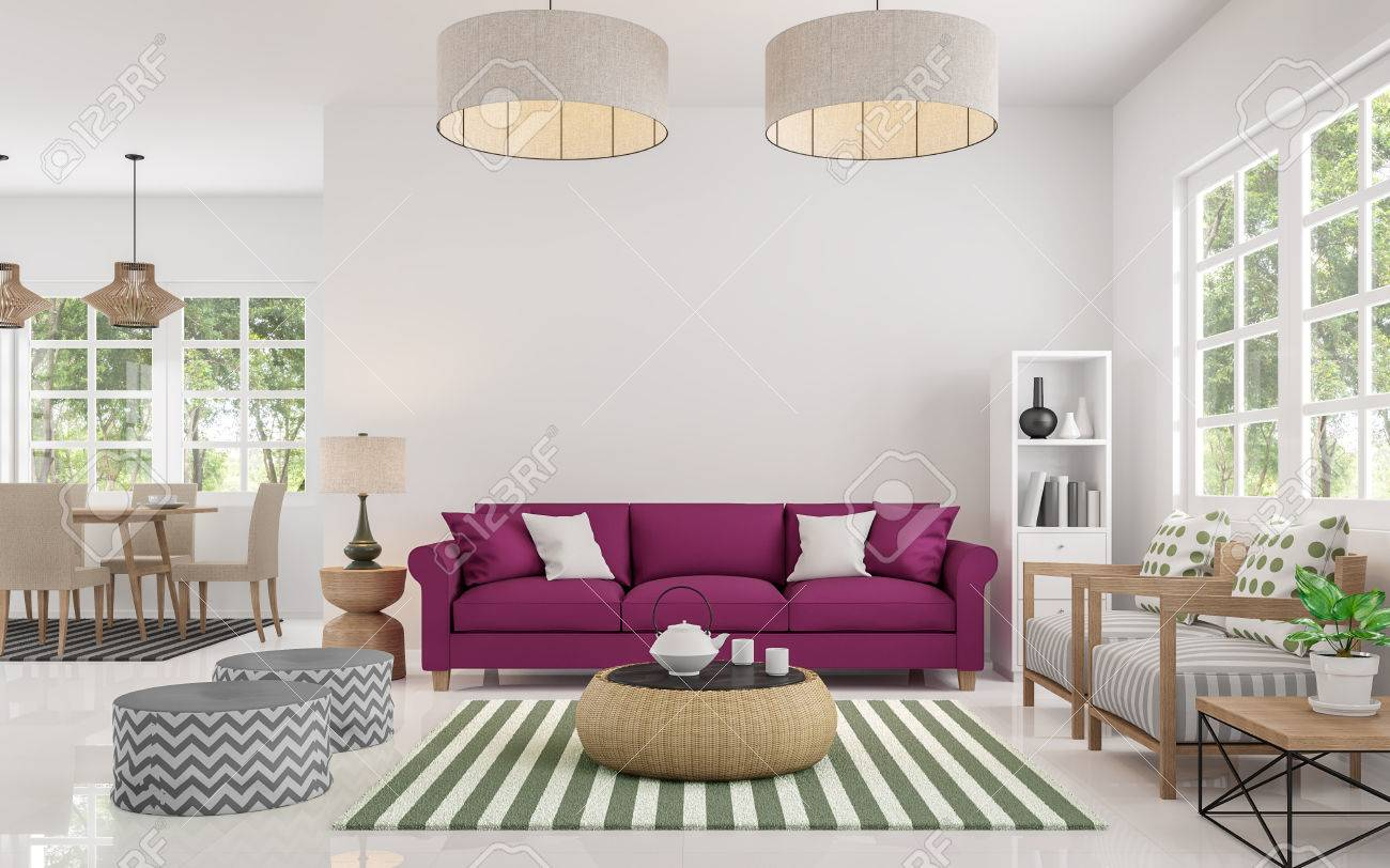 Modern White Living Room And Dining Room 3d Rendering Image There ...