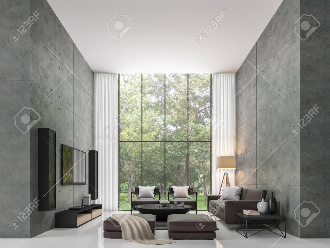 Salon de loft moderne intérieur image de salon moderne le salon est un  grand plâtre en béton fermée en perspective et grandes fenêtres de fenêtre  . ...