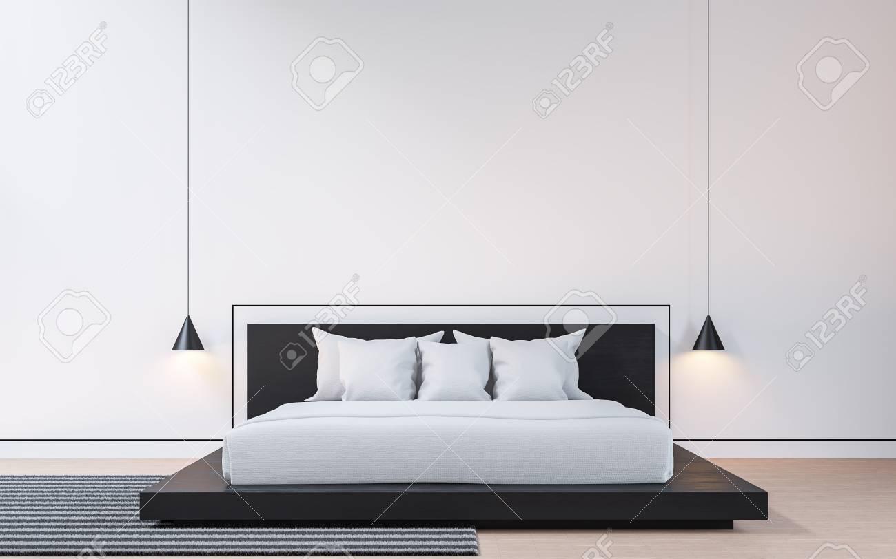 Chambre moderne avec image de rendu 3d en noir et blanc. Il y a des sols en  bois murs blancs décorés avec des rainures noires. Meublé avec des lits en  ...