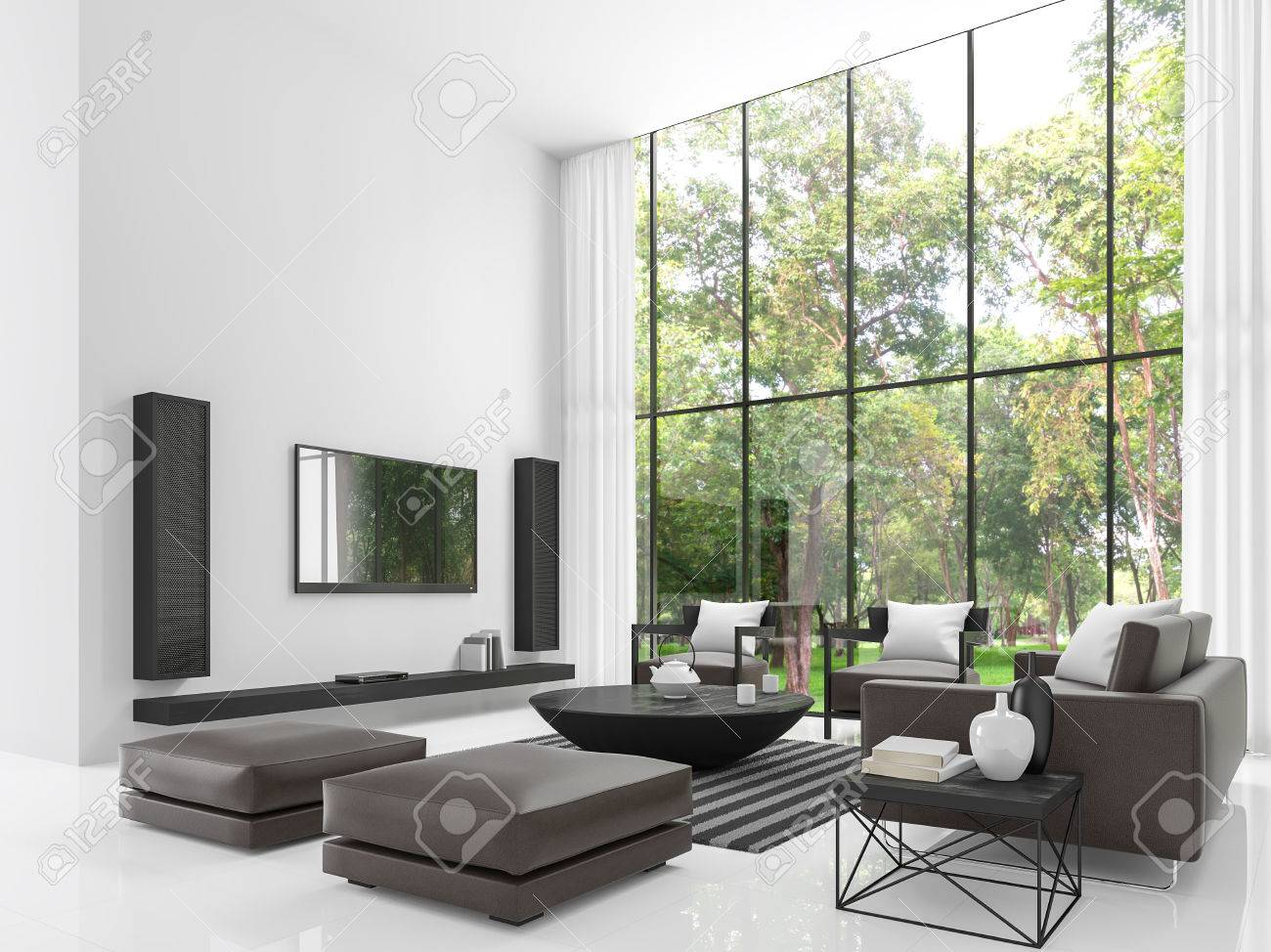 Modern White Living Room 3d Rendering Image The Has Stock Photo Picture And Royalty Free 81339608