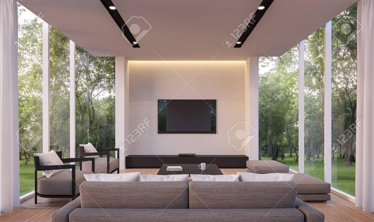 Salle De Séjour Moderne Avec Vue Sur Le Jardin Image En 3D. Séjour ...