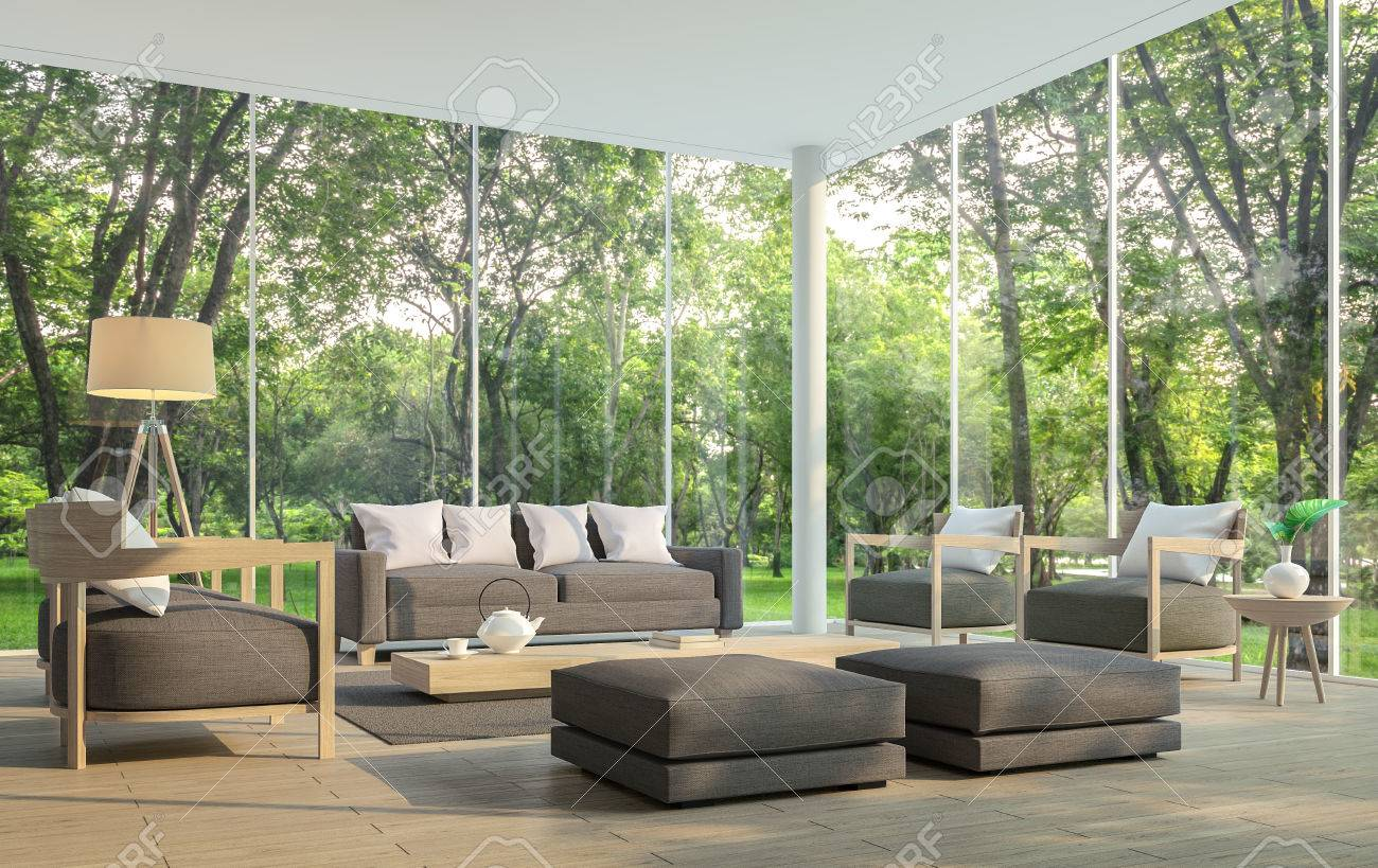 Modern living room with garden view 3d rendering Image.There are large window overlooking the surrounding garden and nature and finished with dark brown furniture - 81359053