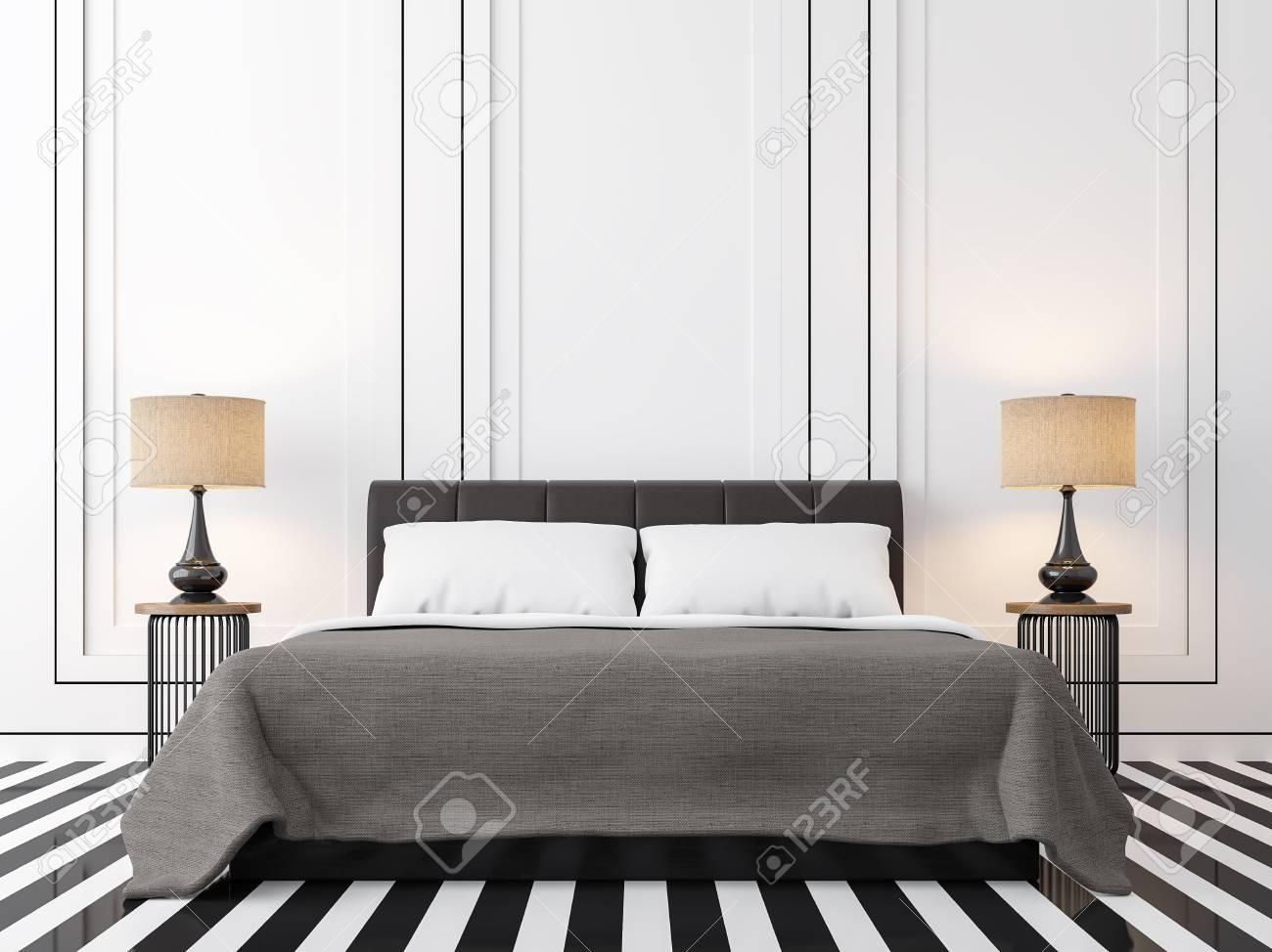 Chambre vintage moderne avec image de rendu 3d en noir et blanc. Il y a un  sol noir et blanc. Décor mural avec gorge noire et fini avec lit marron ...