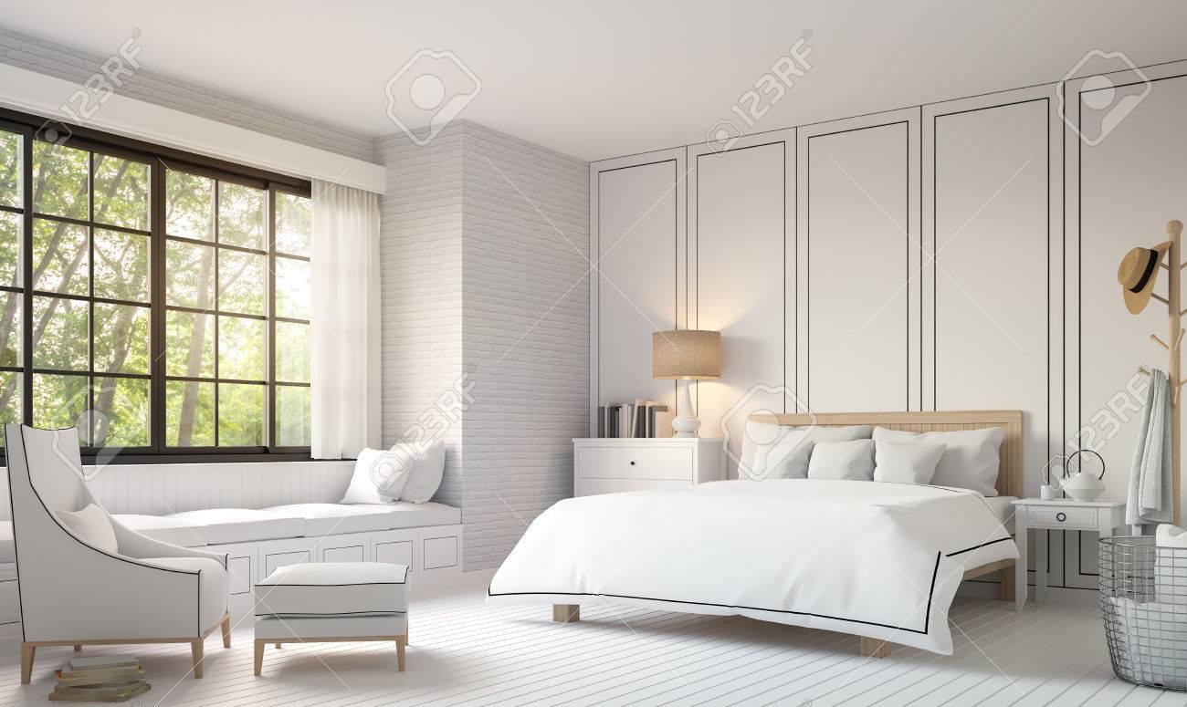 Modern Vintage Bedroom With Black And White 3d Rendering Image ...