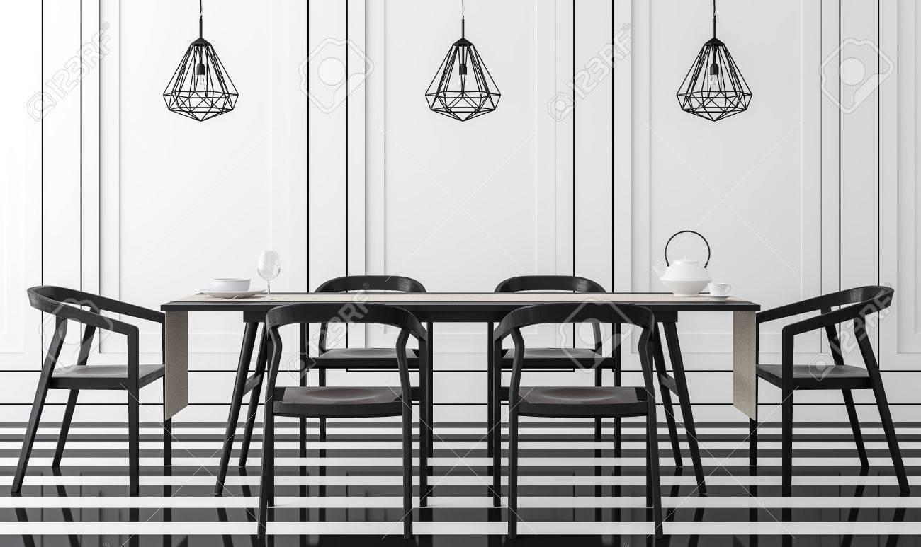 Sala da pranzo moderna d\'epoca con immagine di rendering 3D in bianco e  nero. È un pavimento in bianco e nero. Decorazione a parete con scanalatura  ...