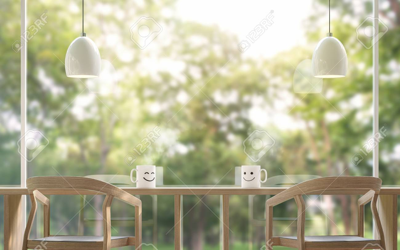 Smile Coffee cup in the morning with blur background 3d rendering image.The coffee table is located by the large window Overlooking to the nature. There is a wooden table and chair - 81709791