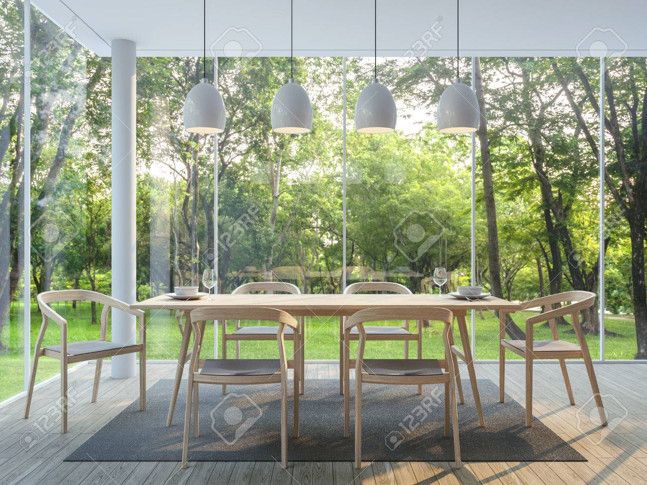 Modern dining room in the glass house 3d render image There are wooden floor there are large window overlooking to the garden and nature and finished with wood furniture - 82160595
