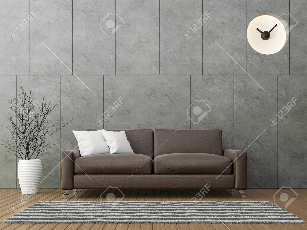 Modern Loft Living With Brown Leather Sofa 3d Rendering Image There Is A Polished  Concrete Wall