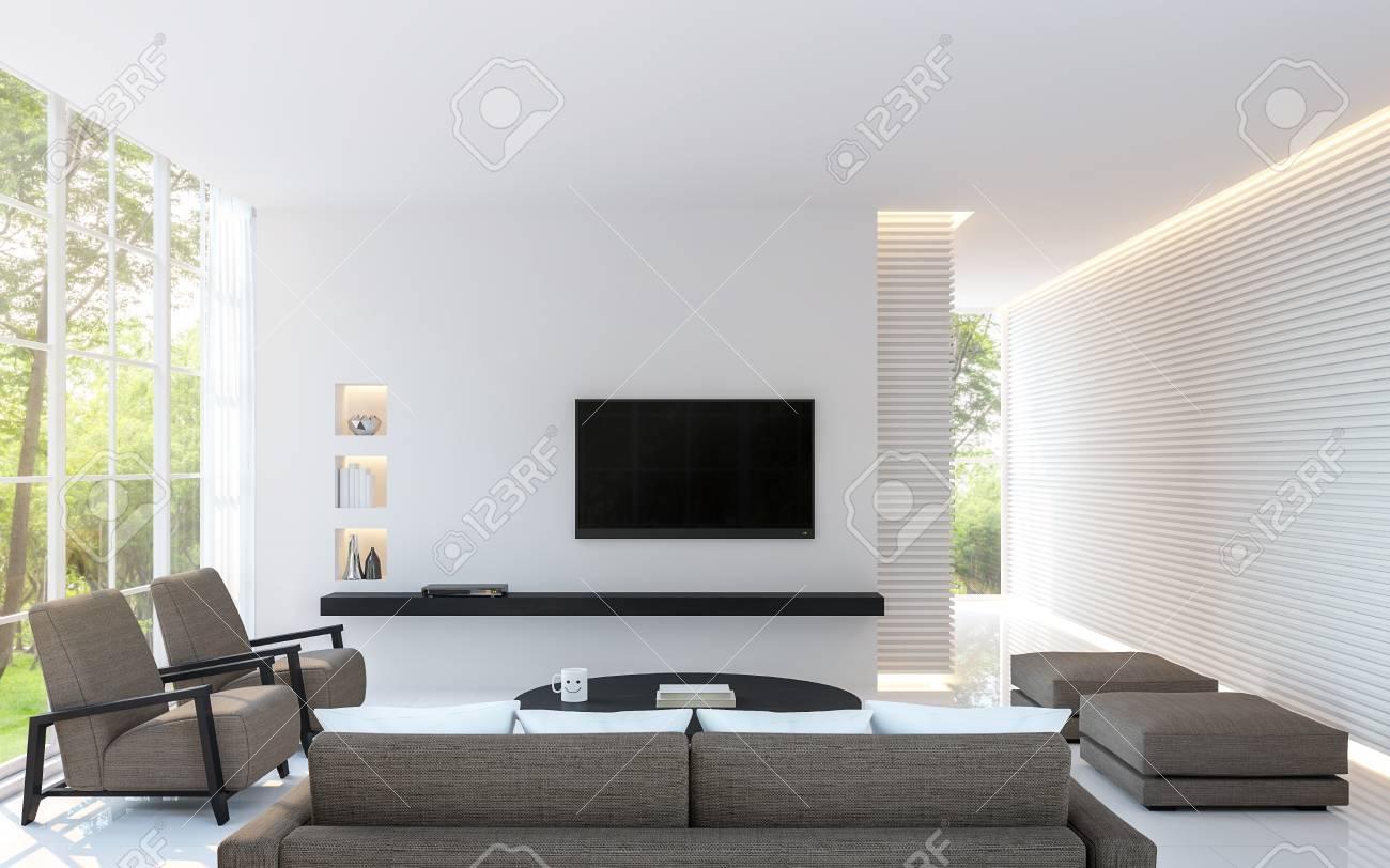Salon Blanc Moderne Decorer Le Mur Avec Motif De Ligne Et Image De