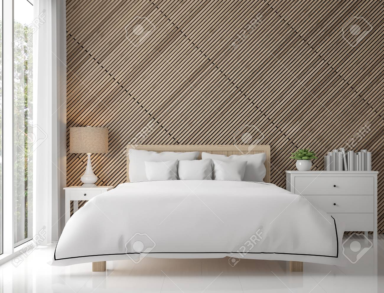 Modern contemporary bedroom interior with wood lattice 3d rendering..