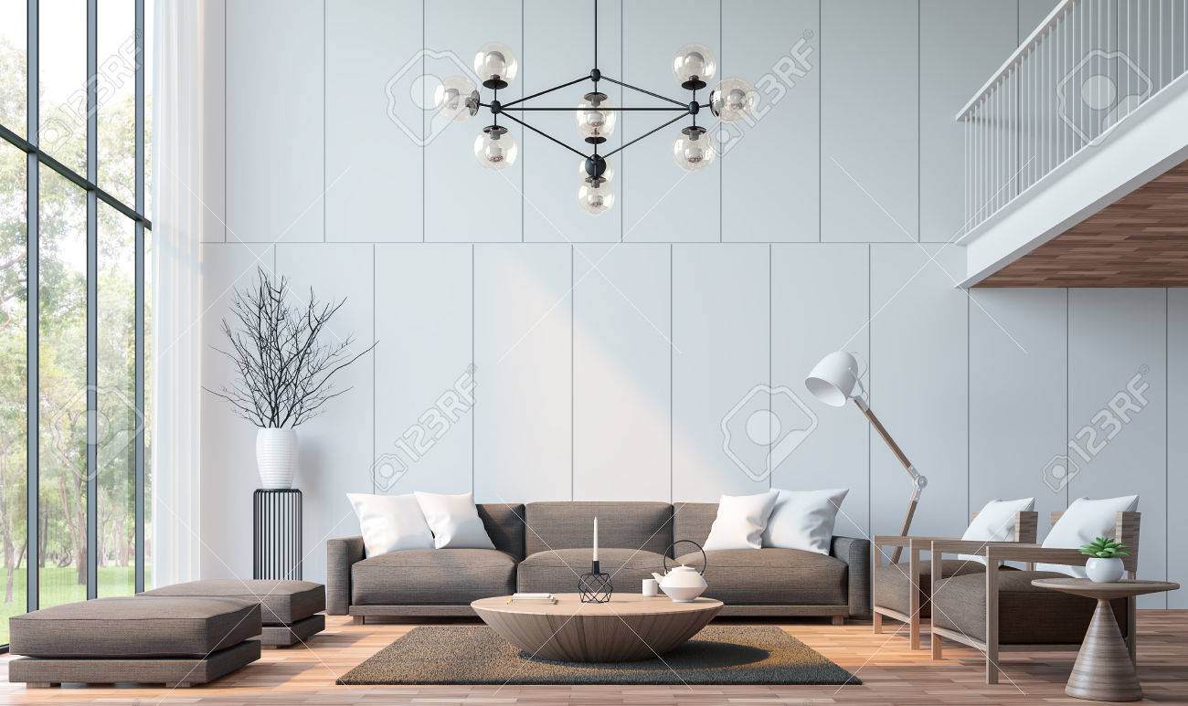 Modern living room with mezzanine 3d rendering image.There are wooden floor decorate wall with groove.furnished with brown fabric furniture.There are large windows look out to see the nature - 82610725