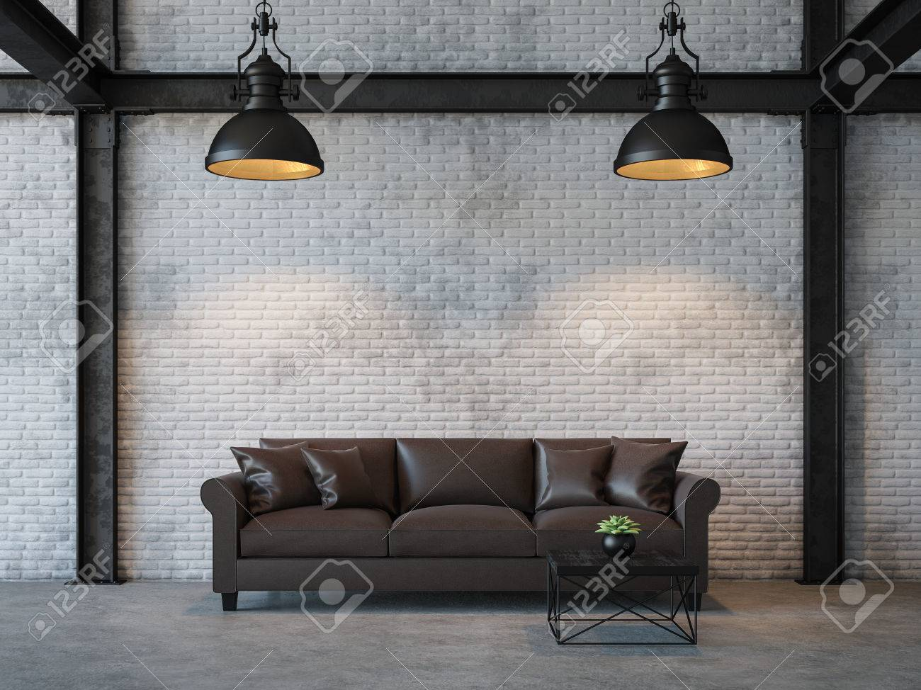 Loft style living room 3d rendering image.There are white brick wall,polished concrete floor and black steel structure.Furnished with dark brown leather sofa - 83013471