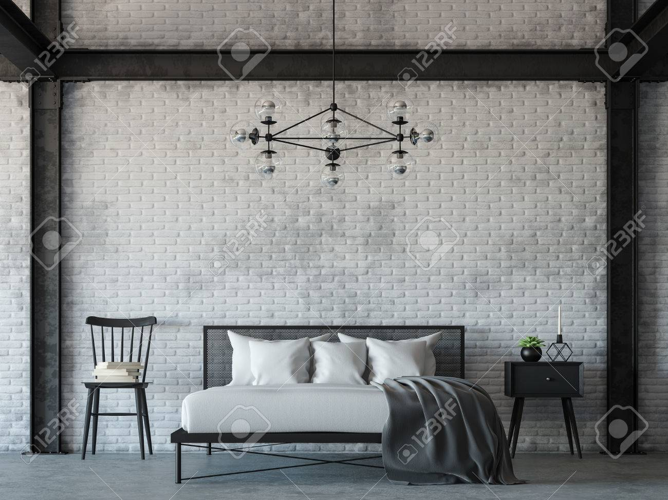 Loft style bedroom 3d rendering image.There are white brick wall,polished concrete floor and black steel structure.Decorate with hanging lamp.Furnished with black and white furniture. - 83297258