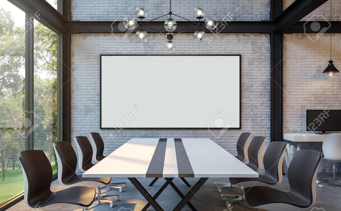 polished concrete floor loft. Loft Style Meeting Room 3d Rendering Image.There Are White Brick Wall,polished Concrete Polished Floor E