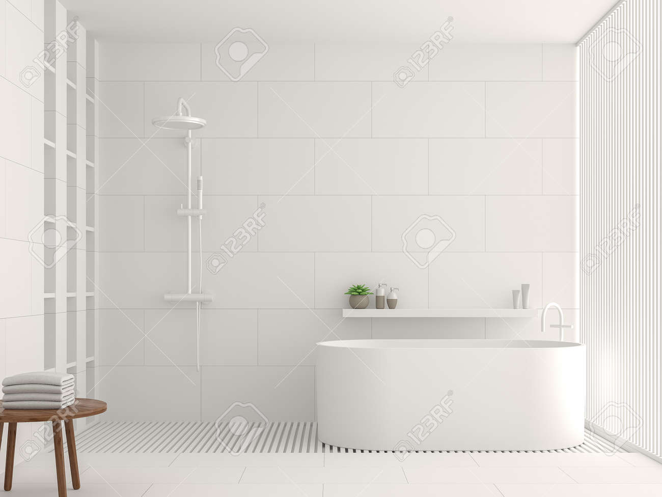 Modern White Bathroom Interior 3d Rendering Image. There Are.. Stock ...