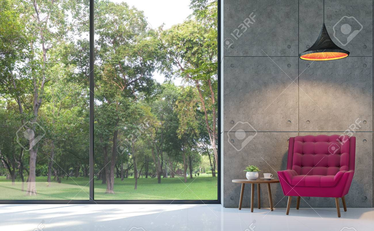 Loft style living room 3d rendering image.There are white floor,polished concrete wall Furnished with purple fabric armchair.There are large windows look out to see the nature - 83734933
