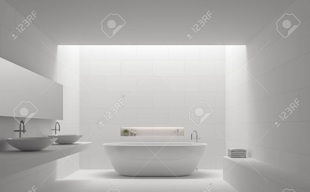 Modern White Bathroom Interior Minimal Style 3d Rendering ImageThere Are Tile With Brick