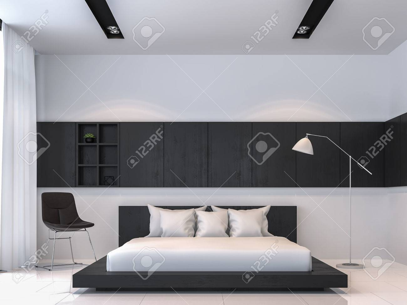 Modern Black And White Bedroom Interior Minimal Style 3d Rendering Stock Photo Picture And Royalty Free Image Image 83989212