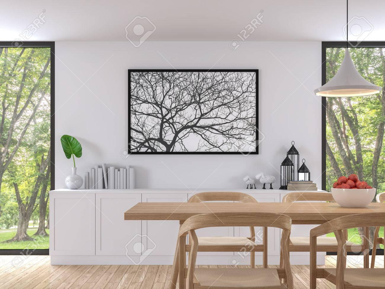 El Comedor Blanco Moderno 3d Rinde Imagen. Hay Piso De Madera. Hay ...