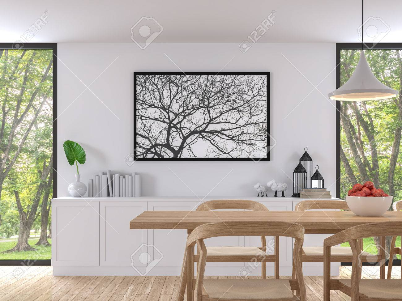 Modern white dining room 3d render image. There are wooden floor..