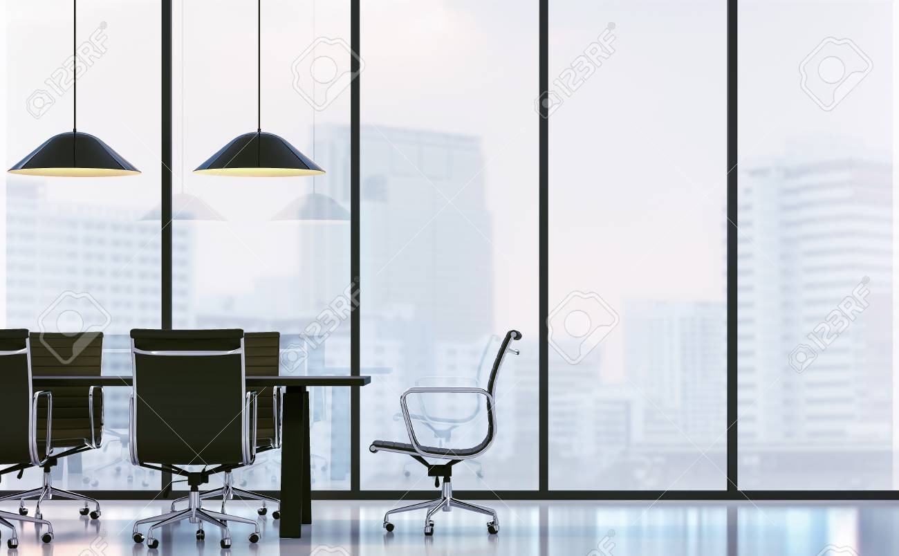 Meeting Room In Modern Office 3D Rendering ImageThere Are White FloorFurnished With